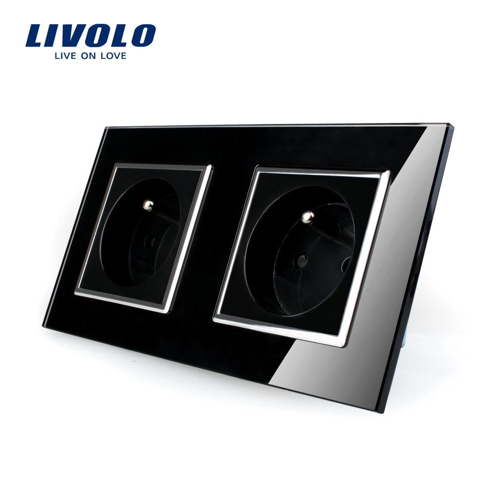LIVOLO 16A French Standard, Wall Electric / Power Double Socket / Plug, Crystal Glass Panel,VL-C7C2FR-12<br><br>Aliexpress