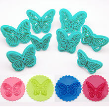 2pcs/Set Plastic Butterfly Embosser Cake Fondant Sugarcraft Cookie Decorating Cutters Cake Mold Baking Tools