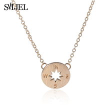 SMJEL New Punk Compass Rose Charms Necklaces for Women Delicate Engraved Necklaces College Student Graduation Gifts N089