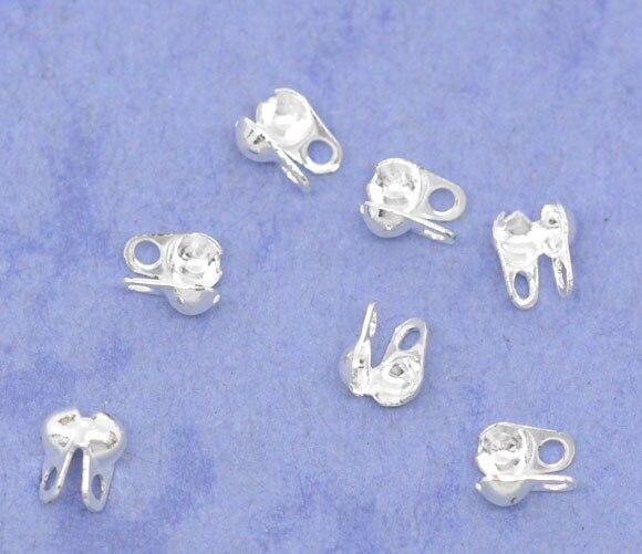 7mm  Antique Silver Calottes Necklace End Tips Crimp Knot Covers PICK QUANTITY