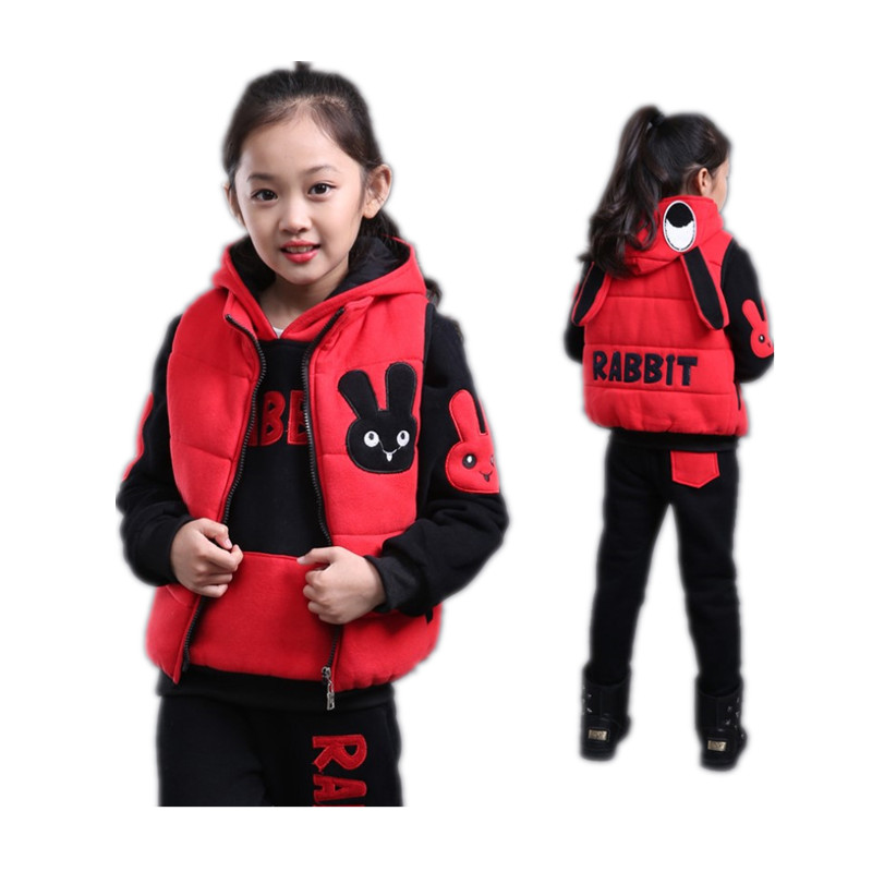 Children Tracksuits 4-12y Pullover Hoodie Rabbit Kids Sport Suits Three-piece Set Winter Girls Clothing Sets Kids Teens Clothes<br>