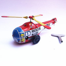 Free Shipping Antique wind up toys tin Airplane models for children metal plane models for collection MS653 helicopter(China)