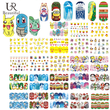 48Sheet Colorful Nail Art Decals Sticker Charming Nail Water Transfer Sticker Christmas/Cartoon/Snow Design DIY Tip BESTZ392-438(China)