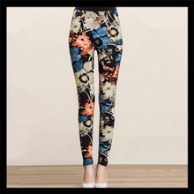 Autumn and winter women's middle-aged mom pants women outer wear leggings stretch pants printed pants thin section