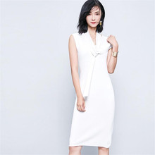 Ladies Summer Dress Knitted And Cotton Slim Fit Female White Black Light Tan Dresses With Necktie Design Casual Vestidoes MA076