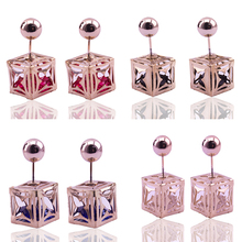 8 Pairs/Lot Heart-Shaped Square Double Sided Pearl Stud Earrings for Women Austrian Crystal Blue&Red&Black