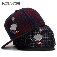 HATLANDER Brand 3D Pigeon hip hop baseball caps for men women outdoor sport hats gorras adjustable casual flat brim snapback cap(China)