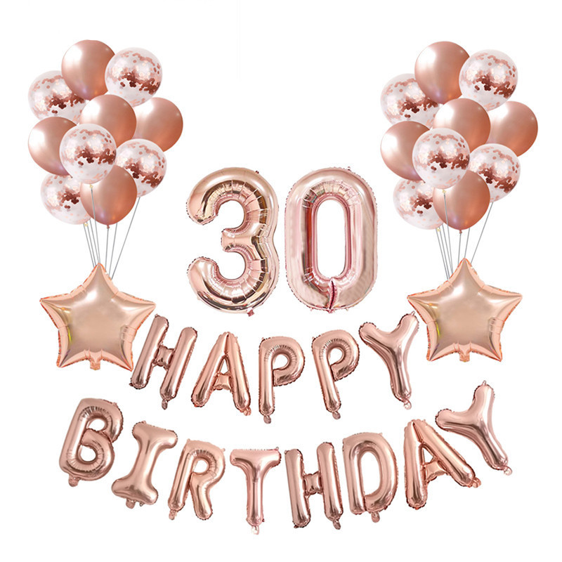 birthday balloons Cheers to 30 years Rose Gold Balloons custom number letter