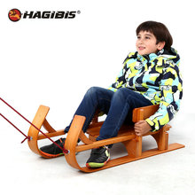 HAGIBIS Wood Child Sled, Kids beech Sledge Skating Board, Winter Outdoor Sport Sled, snow sledge, slittino neve(China)