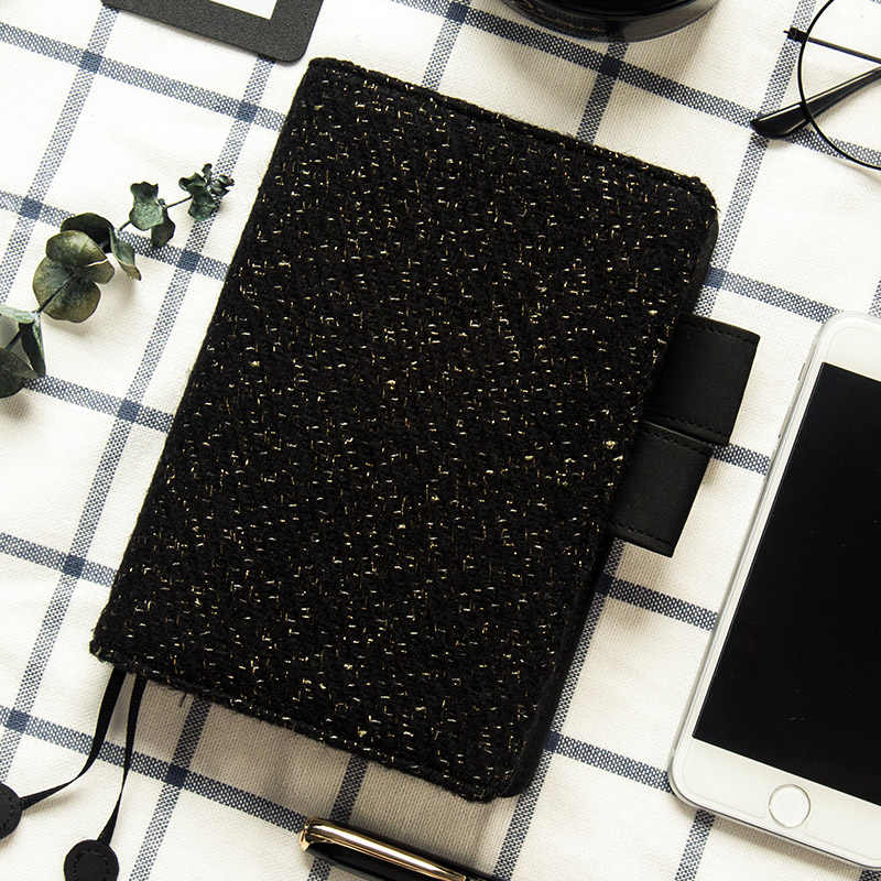 Yiwi Gold Wave Point Black Woolen A5 A6 Hobonichi Style Diary Billbook A6 A5 Notebooks Hobo Cover Stationery Knitting