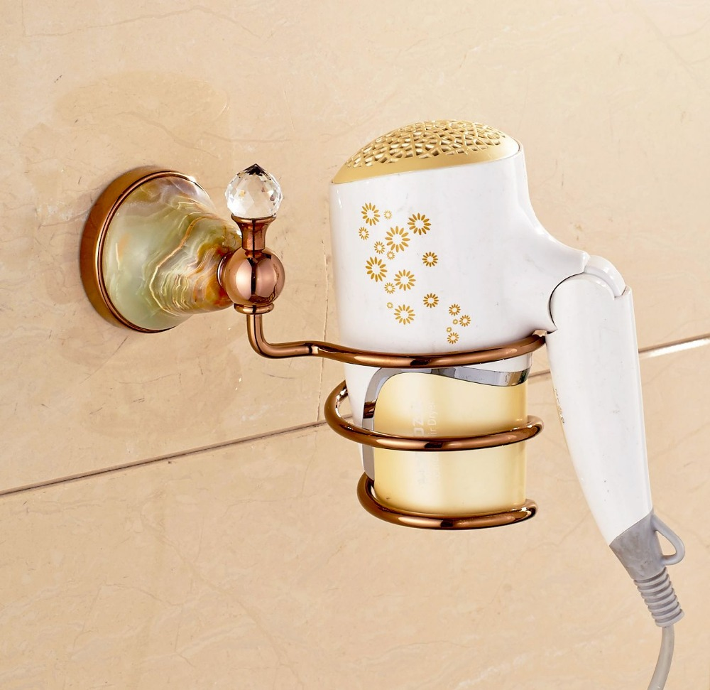 Wall Mounted Rose Golden Finish Hair Dry Holder With Crystal Decoration Jade Cover<br><br>Aliexpress