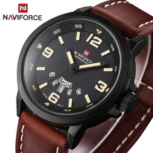 NAVIFORCE Original Luxury Brand Waterproof Quartz Watch Men Leather Army Military Wristwatch Calendar Clock relogio masculino(China)