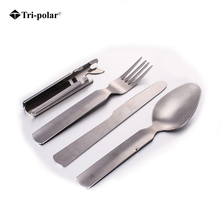 Tri-polar 4pcs/set Portable tableware Outdoor Picnic Utensils Stainless Steel Spoon Fork Knife Dinnerware Camping Cutlery Sets(China)