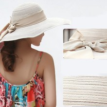 7 Colors Women's Summer Wide Brim Floppy Bowknot Hat Lady Travelling Sun Hat