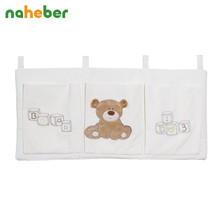 Naheber Baby Bed Hanging Storage Bag Cotton Newborn Crib Organizer Toy Diaper Pocket Bedding Set Accessories 9 Colors(China)