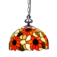 European Arts Sunflower Stained Glass E27 Ancient Tiffany Pendant Lamp Light For Bar Coffee Shop Restaurant Hanging Lights PL548
