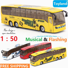 Free Shipping 1:50 Diecast & Toy Vehicles,Alloy City Bus Toy,Metal Car Toy Model,Musical,Flashing,Pull Back,Doors Openable Bus(China)