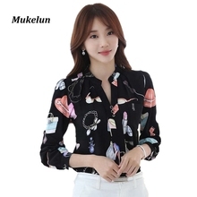 Buy Women Chiffon Blouses 2017 Fashion Summer Women Shirt Elegant Print Long Sleeve Clothing Female Tops Ladies Office Blouse Shirts for $9.98 in AliExpress store