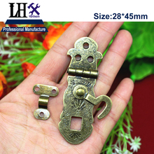 LHX 2pcs/lot Bronze Hasp Lock for Jewelry Gift Box Wood Case Cabinet Furniture Hardware Decorative Protector DIY i(China)