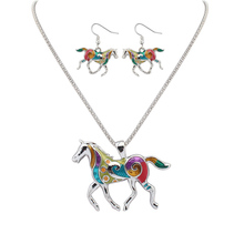 Fashion Women White Gold Jewelry Sets Colorful Drip Horse Pendant Necklace and Drop Earrings Resin Charm Jewelry Wholesale