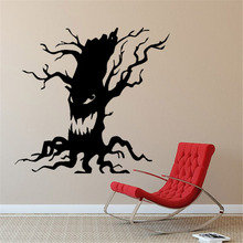 Spooky Tree Halloween Vinyl Art Decals Scary Ghost Face Funny Home Decor Wall Stickers Home Decor Living Room Shop Window ZB446(China)