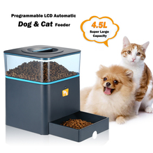 4.5L Automatic LCD Pet Dog Feeder with Voice Reminding and Timer Programmable Pet Dry Food Dispenser Dish Bowl 1-3 Meal/Day