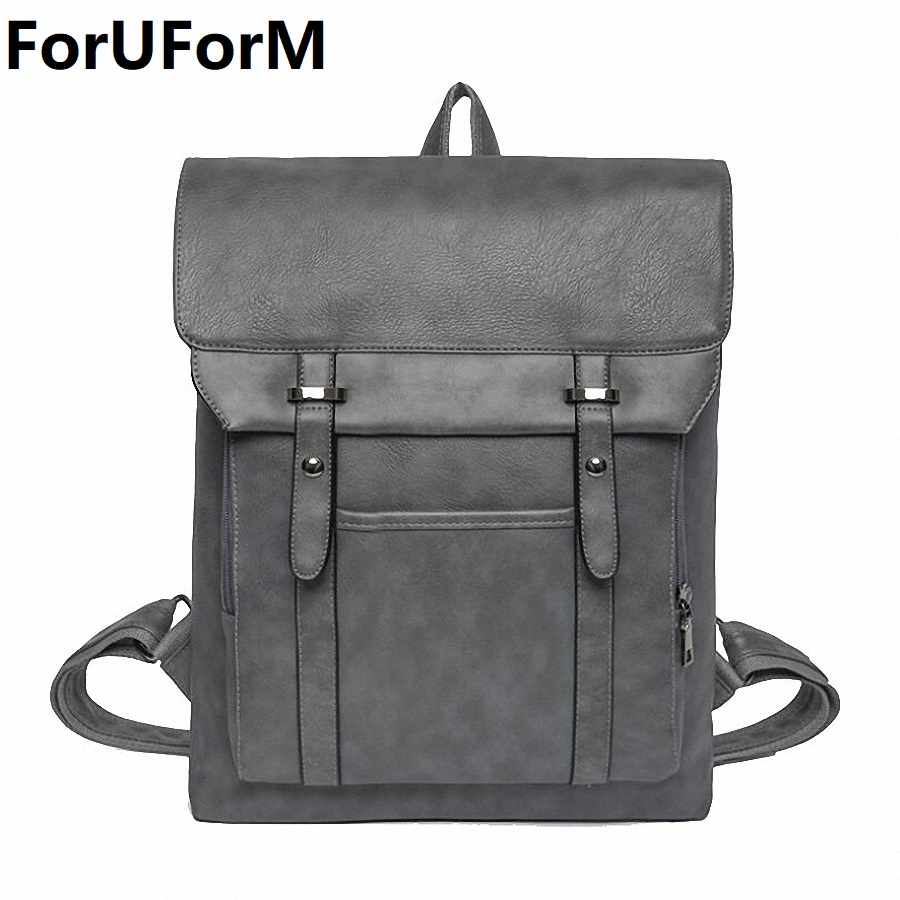 High Quality Practical PU Leather Mens Backpack Famous Brand Casual Men Laptop Backpack Black School Travel Backpack LI-1998<br>