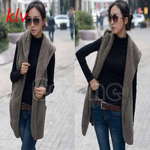 KLV 1pc Faux Lamb Fur Hoodie Long Vest Sleeveless Jacket Waistcoat Women Outerwear Coat WY2703