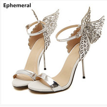 Lady Novelty Fashion Butterfly Wing Top Sold Buckle strap Round Toe Nigh club Metal High heels Sandals Women Party Pumps Shoes