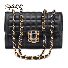Plaid Lock Black Women Chains Messenger Bags Adult Girls School Students Female Crossbody Bag Cheap Quality Leather Pu New Bag(China)