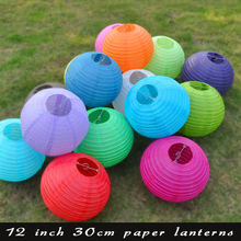 Wholesale 100pcs/lot 12 Inch Chinese Paper Lantern led Ball Round Wedding Paper Lampion For Wedding Decoration White Pink Blue