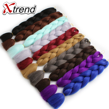 Xtrend 24inch 100g Synthetic Jumbo Braids Crochet Hair Bulk Ombre Kanekalon Braiding Hair Extensions Brown Blue Gray Green 1PC