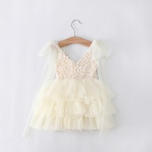 Clear ! Sales ! Retail Free Shipping toddler's Little Girl's Lace Casual kids Princess Party Rosette Dress 3 Colors 90-130