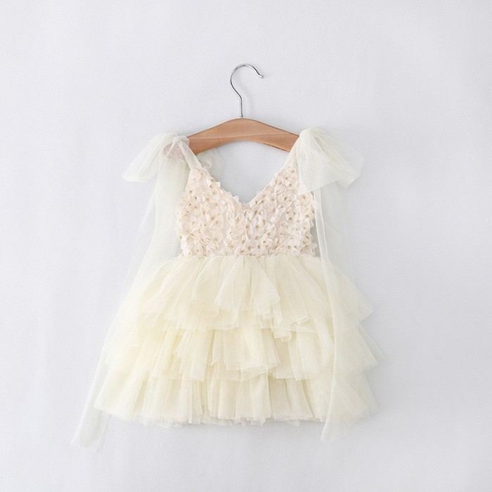 Clear ! Sales ! Retail Free Shipping toddler's Little Girl's Lace Casual kids Princess Party Rosette Dress 3 Colors 90-130(China (Mainland))