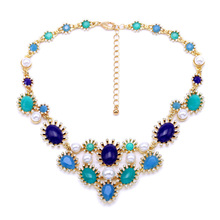 Hot New Arrival Factory All-match Wholesale Personality Flower Acrylic Gem Blue Green Necklace
