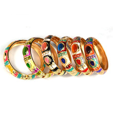 Floral Cloisonne Hinged Bangle Bracelet Chinese Enamel Flower Round woman bangles 1pc