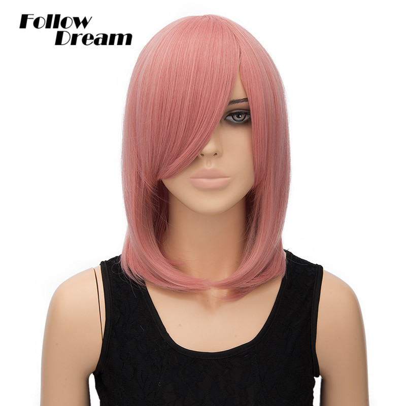 40cm Straight Pink Wig Cosplay Short European &amp; American Fashion Heat Resistant Synthetic Wigs High Quality Synthetic Short Wigs<br><br>Aliexpress