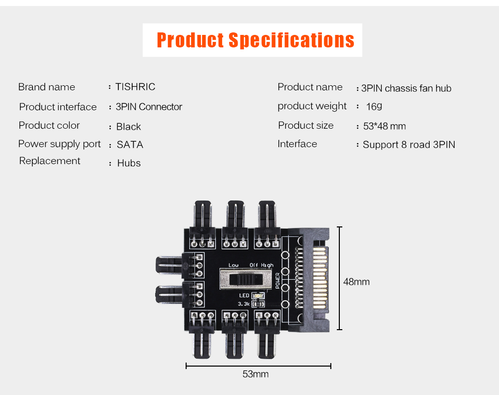 TISHRIC 1 to 8 3Pin Fan Hub Pwm Sata Molex Splitter PC Mining Cable 12V Power Suppply Cooler Cooling Speed Controller Adapter