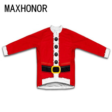 Men christmas festival cycling jersey long sleeve winter fleece  cycling clothing red bicycle clothing maillot road maxhonor