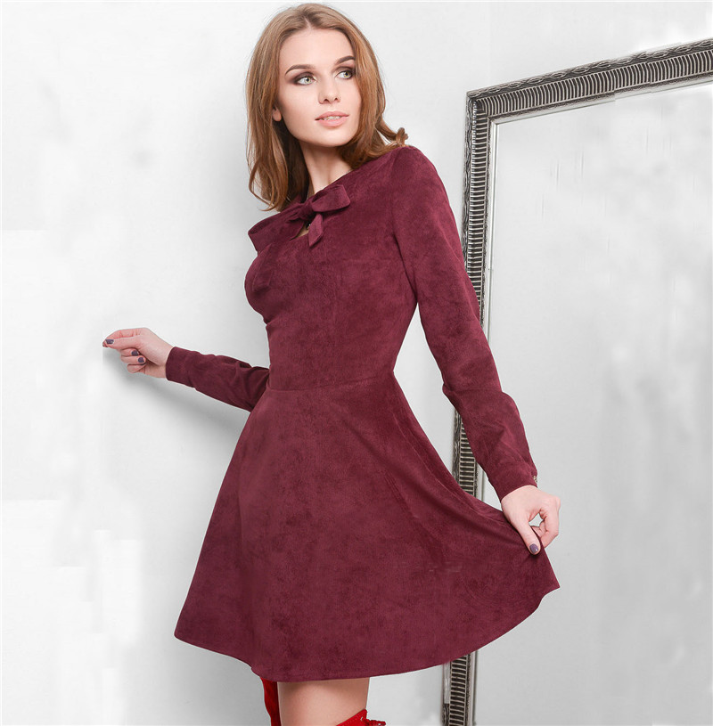Autumn Winter Dresses Women 2018 Casual Long Sleeve Dress Black Red Vintage Mini Christmas Simulation Of Deerskin Velvet Dress 5