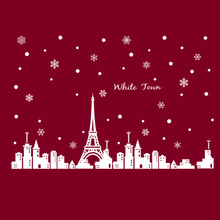 PVC Removable Wall Stickers White Town Christmas Poster Eiffel Tower Snow Glass Window Decal Decoration Vinyl Art