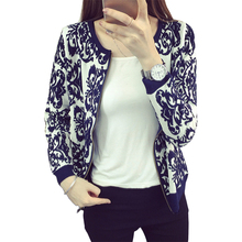 2016 spring short sweater jacket thin blue and white porcelain cardigan women zipper sweaters retro small jumper vestidos MMY161(China)