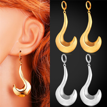 Drop Earrings For Women Jewelry Trendy Nice Gift Sickle Saturn Symbol Style Yellow Gold/Silver Color Earrings E1134