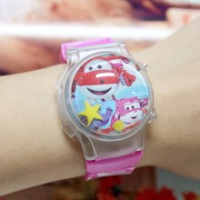 10Pcs/Lot Super Wings Kids Funny Waterball Cartoon Watches Small Order Silicone Flashing Lights Boys' Children Sports Wristwatch