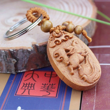 1 pc Fashion llaveros animal Carved Wooden KeyRing Cute Rabbit Key Chain car Pendant Charming small Keychain woodwork(China)
