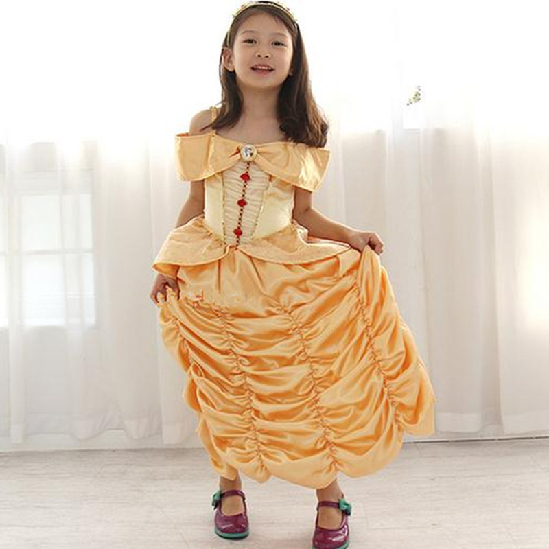 New 2017 Kids Girl Beauty and beast cosplay carnival costume kids belle princess dress for Christmas Halloween dresses for girls<br><br>Aliexpress