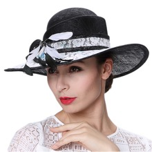 June's Young Women Hats Black Color Wide Brim Sinamay and Lace Material Summer Sun Lady Wedding Party Wear Fedoras Hats Hot Sale(China)