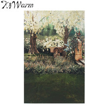 KiWarm Countryside House Silk Poster Decor Fabric Painting Photography Backdrop Background for Studio Home Background Decor