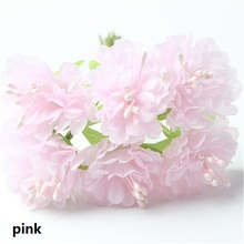 12Pcs/lot 4.5cm Handmade Silk Flowers Cherry Blossom Artificial Chrysanthemum Flower DIY Bouquet Home Garden Wedding Party Decor(China)