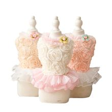 Lace Polyester Dog Dress Summer Breathable Rose Yarn Pet Skirt For Small Dogs Puppy Cat Princess Costume Clothes Petstyle(China)